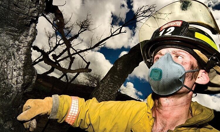 Firefighter Wearing A Respirator