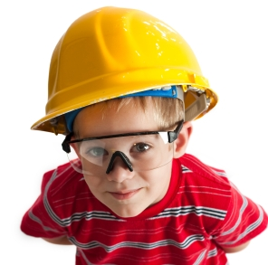 Eye protection is important if your children are helping you with home protects.