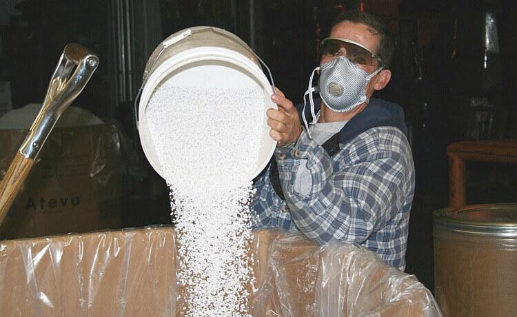 Factory Work Wearing Dust Mask