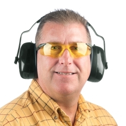 Man wearing earmuffs