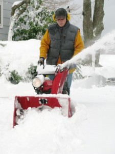 Always wear eye protection when operating a snow blower.