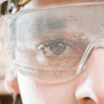 fogged safety glasses