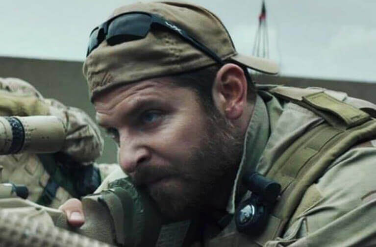 6d53acc64a Bradley Cooper is seen wearing Wiley X Saint sunglasses in American Sniper.
