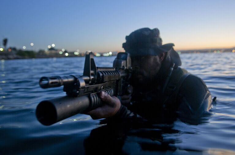 Navy Seal Emerges From The Water