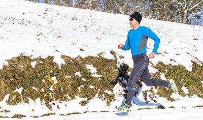 Man Jogging In Winter