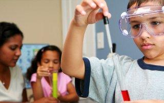 Child Wearing Safety Splash Goggles