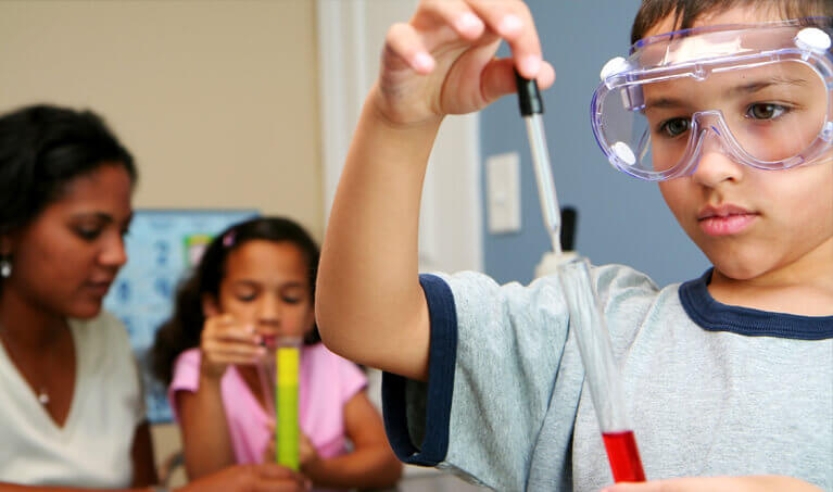 Child Wearing Safety Splash Goggles